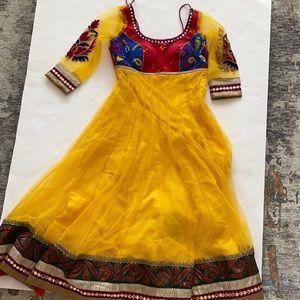 Indian Anarkali Yellow/ purple Tulle embroidery dress